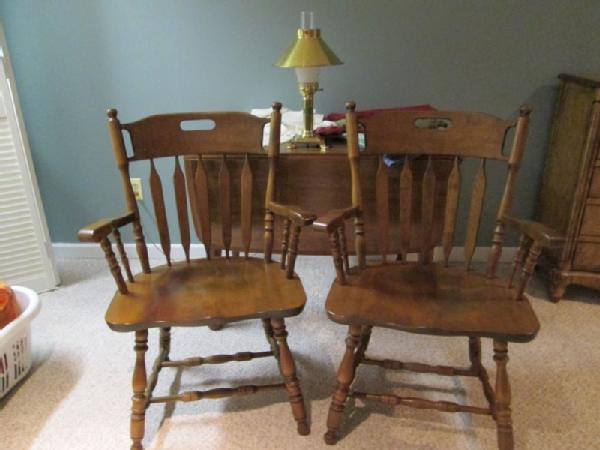 Item # 15    S. Bent U0026 Bros Colonial Style Maple Drop Leaf Table And Pr  Matching S. Bent Captainu0027s Chairs.