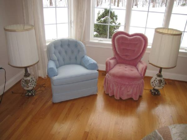 Item # 22    Boudoir Chairs And Vintage Lamps Including Pink Upholstered  Chair With Heart Shaped Back (upholstery Faded And Somewhat Stained); Blue  ...