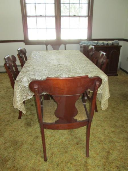Item # 3    Penn House Drop Leaf Cherry Queen Anne Table W/ Matching Server  And Six Chairs.