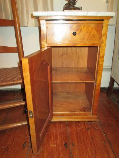 Item # 5    Small Furniture Incl Vintage Maple Marble Top Cabinet C. 1930u0027s  W/ Pull Out Glass Tray, Vintage Glass Lamp, Vintage Ladder Back Wood Chair  W/ ...