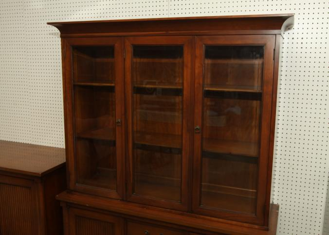 Item # 13    White Fine Furniture Co Matching China Cabinet And Sideboard,  Two Part Display Cabinet With Three Beveled Glass Doors.