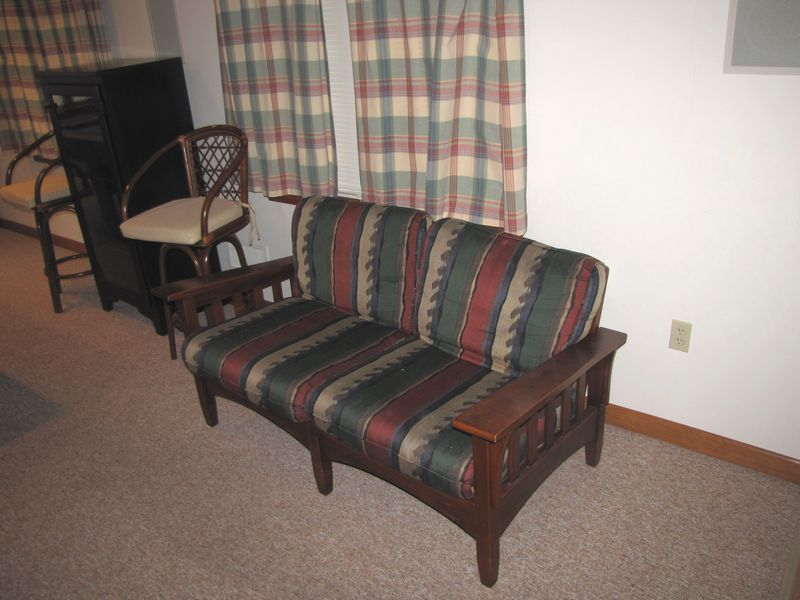 Ordinaire Item # 29    Casual Furniture Including Ethan Allen Loveseat With Mission  Style Wood Frame And Cushions.