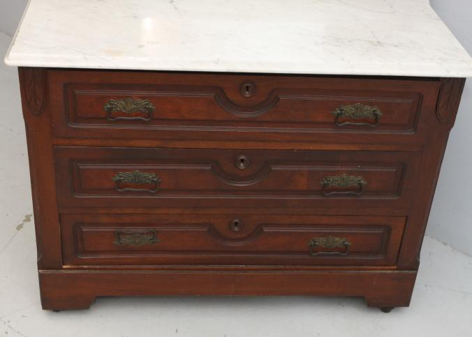 Victorian Eastlake Carved Walnut Marble Top Dresser With Mirror Having Candlestands Dovetailed Construction Absolute Auctions Realty