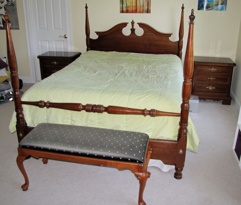 Item 6 Modern Cherry Queen Anne Style Bedroom Furniture Including Sized 4 Post Bed