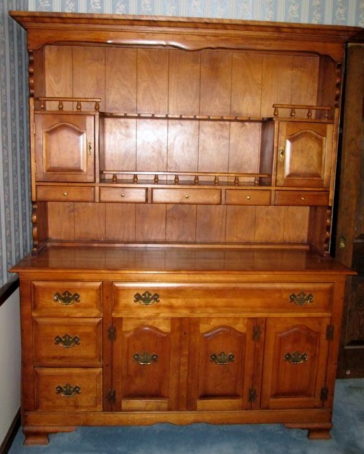 Item 2 Cushman Colonial Vermont Made Maple Dining Room Hutch Two Pc Open W Plate Grooves Lined Flatware Drawer Oversized Linen And