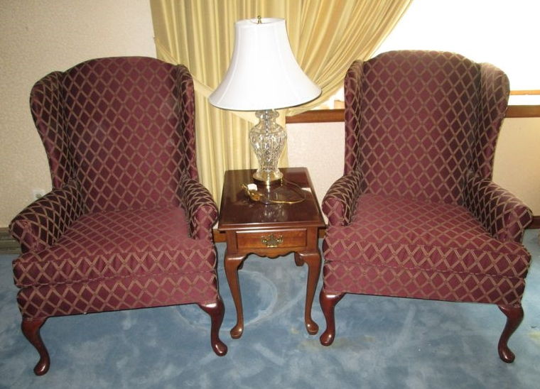 Item # 7    Pair Broyhill Queen Ann Wing Uphol Arm Chairs, Penn House Queen  Ann Cherry End Table, Glass Table Lamp. Uphol Burg W/ Gold Diamond  Patterned ...