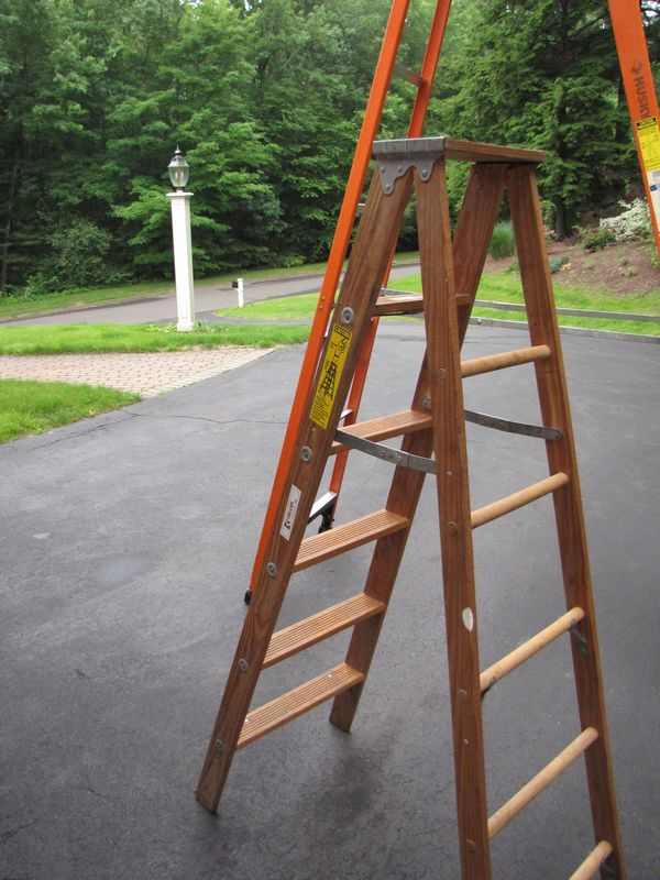 Item 5 2 Step Ladders Including 12 Foot Tall Husky Ladder Rated To 300 Lbs Made Of Aluminum And Fibergl Also 6 Foot Tall Keller Wooden Ladder