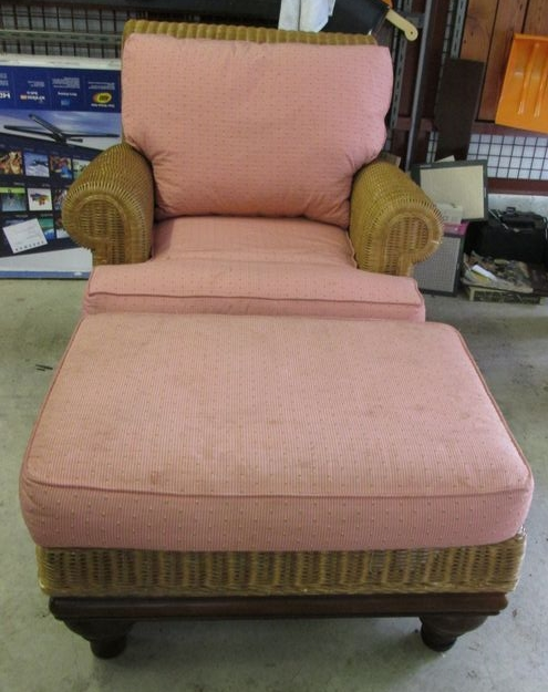 Item # 3    Lexington Casual Wicker Arm Chair W/ Matching Ottoman And Pink  Fabric Cushions, Plus Drop Leaf Painted Table. Chair Is Approx  3u0027Wx43u0027Dx37u201dH; ...