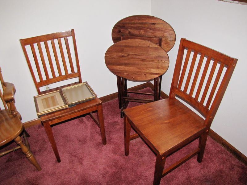 Item # 11    Misc. Furniture, Etc. Including Temple Stuart Oak Hill  Collection Oak Dinette Table With Leaf And Four Chairs In Good Condition ( Table ... Part 91