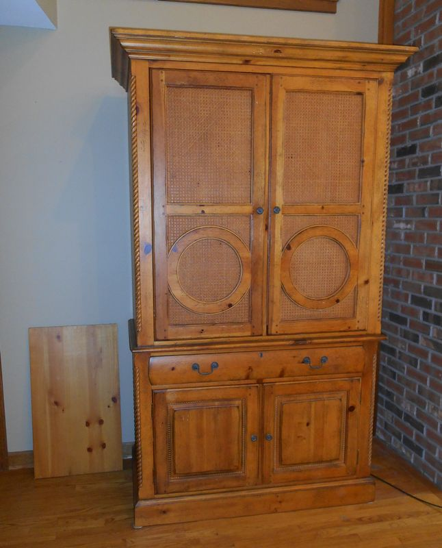 Item # 3    Drexel Heritage Pine TV Armoire, Cane U0026 Rope Designed Front (2  Pcs) W/ Divided Drawer And Storage Below, 4u0027Wx25u201dDx86u201dT. Bottom Section Is  34u201dH, ...