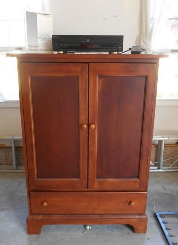 Item # 14    Cherry Finished TV Armoire W/ PS2, Dance Mat, CDC. TV Cabinet  Has Lg Inside Section For TV Storage W/ Media Shelf On Bottom, Paneled  Pocket ...