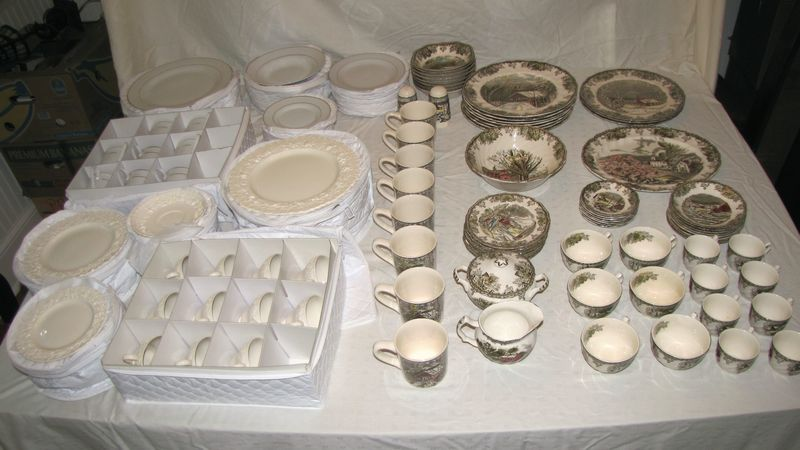 Item # 4 -- 3 sets of porcelain dinnerware including 68 pieces of Johnson Brothers  Friendly Village  pattern; 50+ pieces of Wedgwood embossed Queenu0027s Ware; ... & Absolute Auctions u0026 Realty