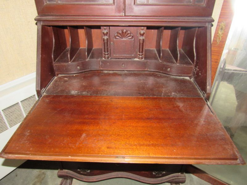 Item # 1 -- Antique and decorative furniture lot including: mahogany  secretary desk with bookcase top, serpentine front, ball & claw feet,  automatic drop ... - Absolute Auctions & Realty