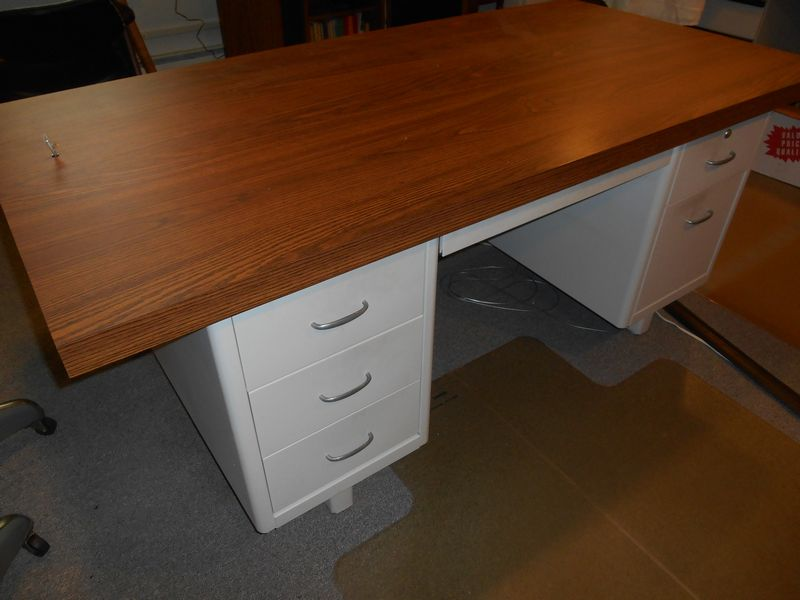 Item # 10    Office Furn Incl Grey Metal File Cabinet Style Exec Desk, W/  Pr Vint Metal Rolling Chairs And Tall Grey Metal File Cabinet.