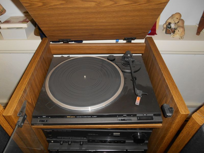 Item # 11    Technics Complete Stereo System In Wood Cabinet W/ Glass Front  Doors, Pr Technics Floor Speakers, Synthesizer, Amplifier, CD Player,  Turntable, ...