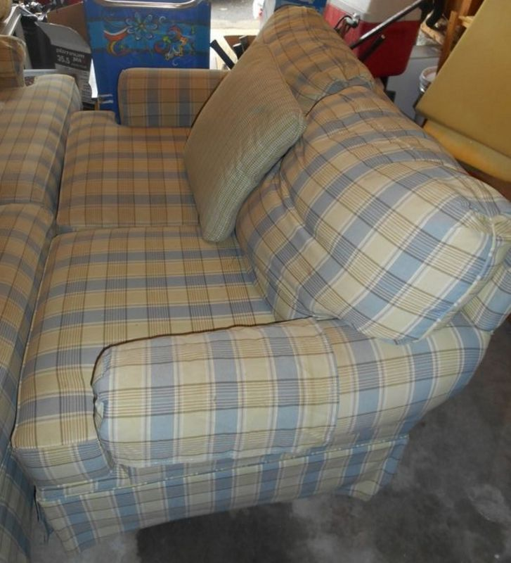 Item 9 Clayton Marcus Two Pc Sofa Set Incl Full Sized And Loveseat W Three Sq Throw Pillows Light Blue Beige Plaid Cushion Large