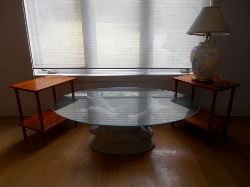 Item 5 Whimsical Glass Top Oval Coffee Table W White Dolphin Base Pr Pine End Tables Iridescent Jar Style Lamp Has Remov