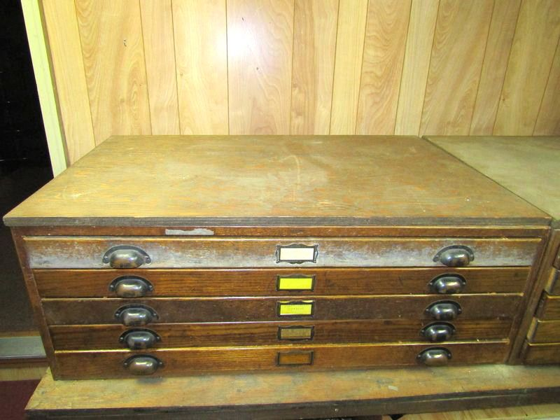 Absolute auctions realty item 4 2 vintage oak hamilton wooden blueprint cabinets with inset side panels and 10 drawers 15tx405wx275d one wooden pull is missing malvernweather Gallery