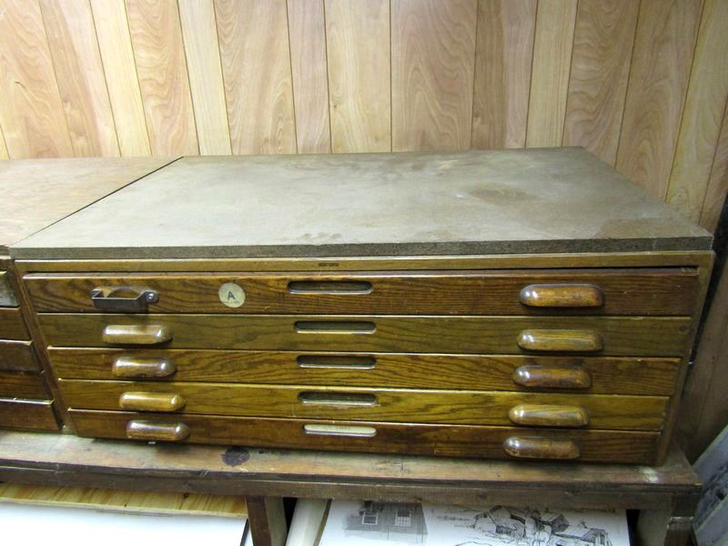 Absolute auctions realty item 4 2 vintage oak hamilton wooden blueprint cabinets with inset side panels and 10 drawers 15tx405wx275d one wooden pull is missing malvernweather Choice Image