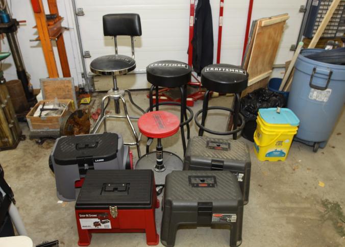 Item # 32 -- Pair of Craftsman black bar stools one Craftsman stool with backrest Step u0027N Store step stool with under lid storage Lasko storage step ... & Absolute Auctions u0026 Realty islam-shia.org