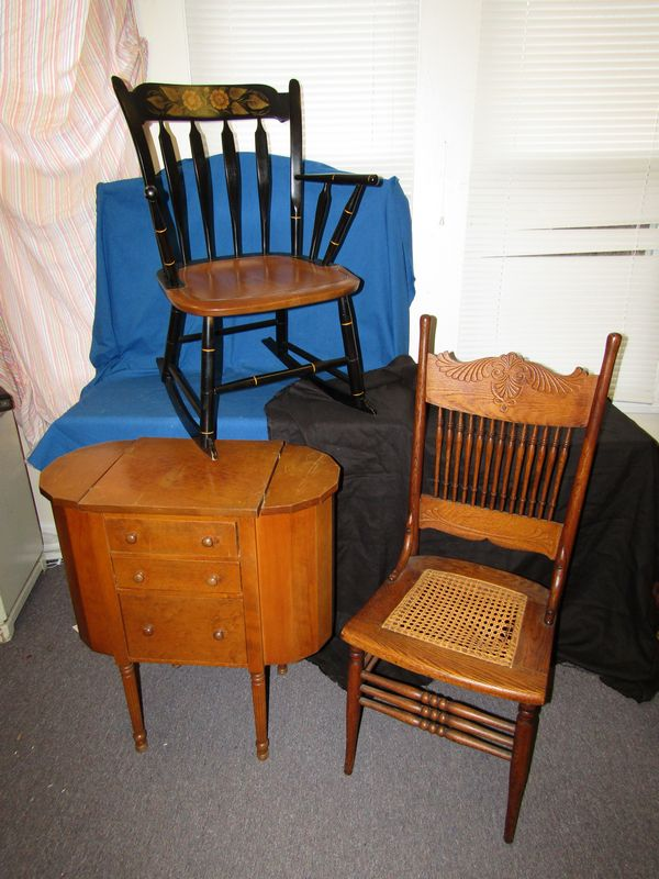 Item # 16 -- Hitchcock rocking chair vintage sewing cabinet and oak pressed back chair with cane seat (seat needs repair). Items appearing in backgrounds ... & Absolute Auctions u0026 Realty