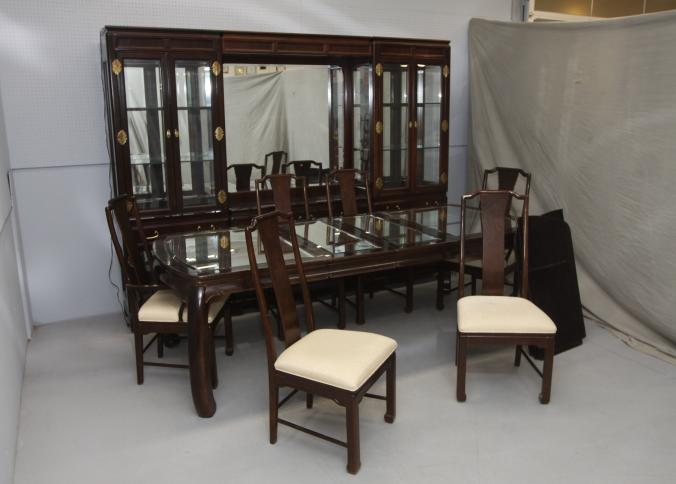 Beau Item # 1    American Of Martinsville Dining Room Set With Five Part  Mirrored Back Hutch Having Ten Doors, Five Drawers, Six Removable Interior  Glass Shelves ...