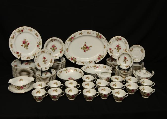 ... moss rose pattern incl dinner plates salad plates serving tray tea cups saucers gravy boat dessert bowls sugar creamer etc. Pickup only. & Absolute Auctions u0026 Realty