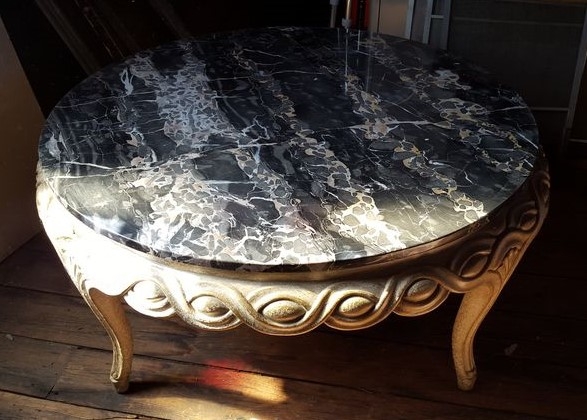 Absolute Auctions Realty - Grey marble top coffee table
