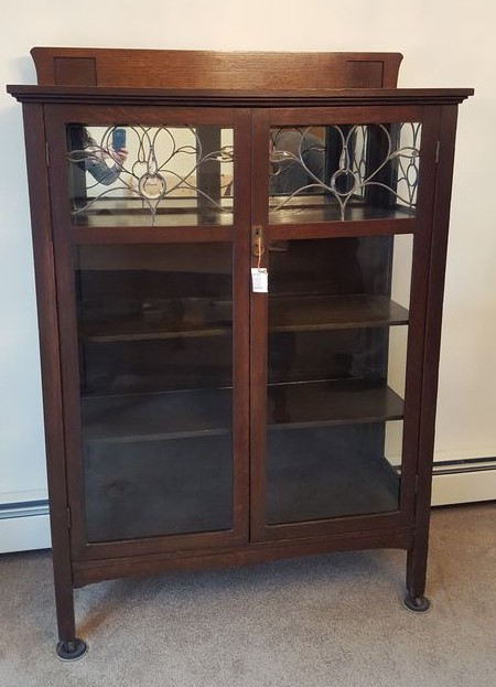 Item # 3 -- Antique china cabinet with glass front doors and glass side  panels - Antique China Cabinet With Glass Doors Antique Furniture