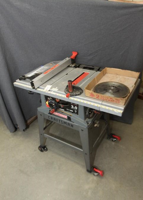 Item 44 Craftsman 10 Table Saw Model 137 248830 Ser Rfw4131 On Metal Base With Wheels 37 5 X 24 36 T Pickup Only