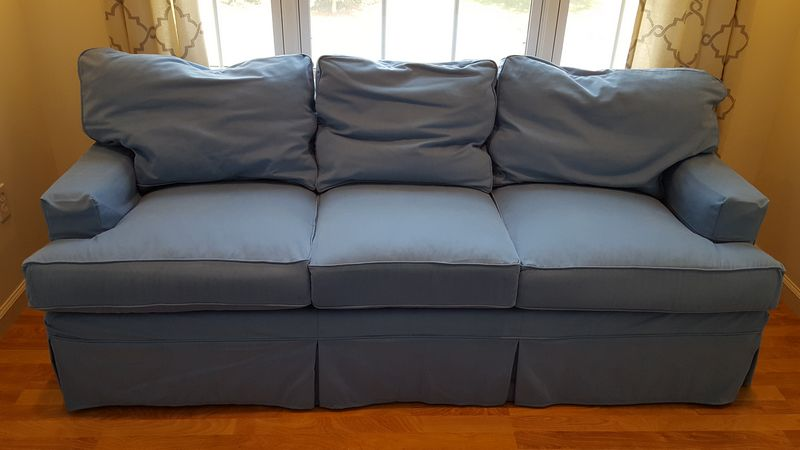 Item 16 Goose Down Laura Ashley Waverly Blue Linen Slip Cover Style Sofa And Overstuffed Club Chair With Coordinating Square Ottoman Blanket Chest
