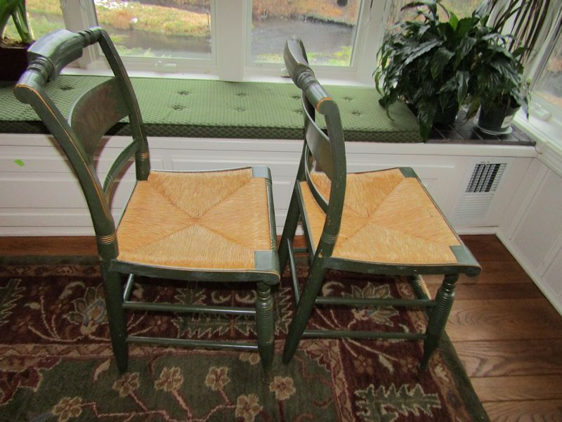 Item 6 Seven Hitchcock Dining Room Chairs Green Painted With Rush Seats And Stenciled Backs Included Are Six Side One Arm Chair