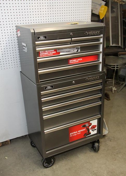 husky tool box limited edition. item # 3 -- husky limited edition stackable tool box with five drawers over having ball bear-bearing drawer slides, heavy duty 100lbs. i
