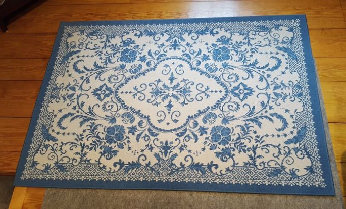 Item 23 Belgium Blue White Area Rug W Toile Antique Custom Slip Covered Vintage Chair And Modern Tan Storage Ottoman