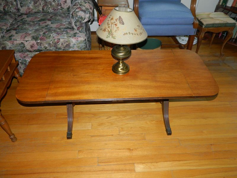 Couch Norwalk Furniture Barwick Howard Miller Clock Co Grandfather 2 Tole Floor Lamps Maple Coffee Table Mahogany Dropleaf