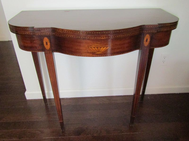 Item # 24 -- Two antique flip top gaming tables including 19th century  Sheraton style table with marquetry inlay 30